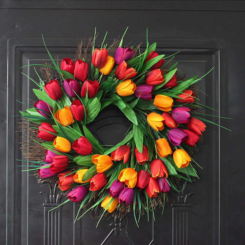 Spring Artificial Tulip Front Door Wreath Home Decor Window Wall Party Wedding Valentines Day Hanging Decor Tulip Wreath