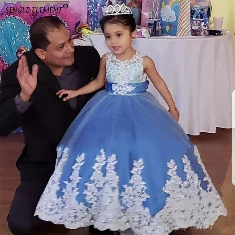 Nouvelle belle fille de fleur bleue robes de reconstitution historique pour les filles dentelle Applique robe de mariée