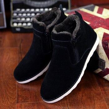 2019 Warm Snow Boots Men Winter Boots Men Casual Snow Boots Men Plush Zipper Winter Shoes Male Slip on Male Shoes HX-059