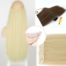 LISI GIRL 5 Clip In Hair Extensions False Hair Pins Synthetic For Women Natural Wool Roll With Hairpins 24 Inch Brown Blonde