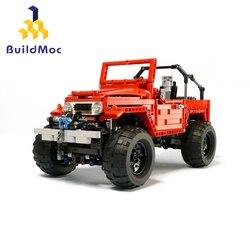 BuildMoc 4889 FJ40 Crawler RC Car Racing APP zdalnie sterowanym samochodowym RC śledzone Racer klocki Technic lepining zabawki