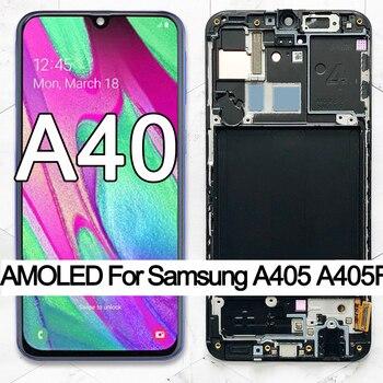 100% супер AMOLED для Samsung A40 LCD 2019 A405 ЖК-дисплей с сенсорным экраном дигитайзер в сборе с рамкой Запасные Запчасти для ремонта, алиэкспресс доставка