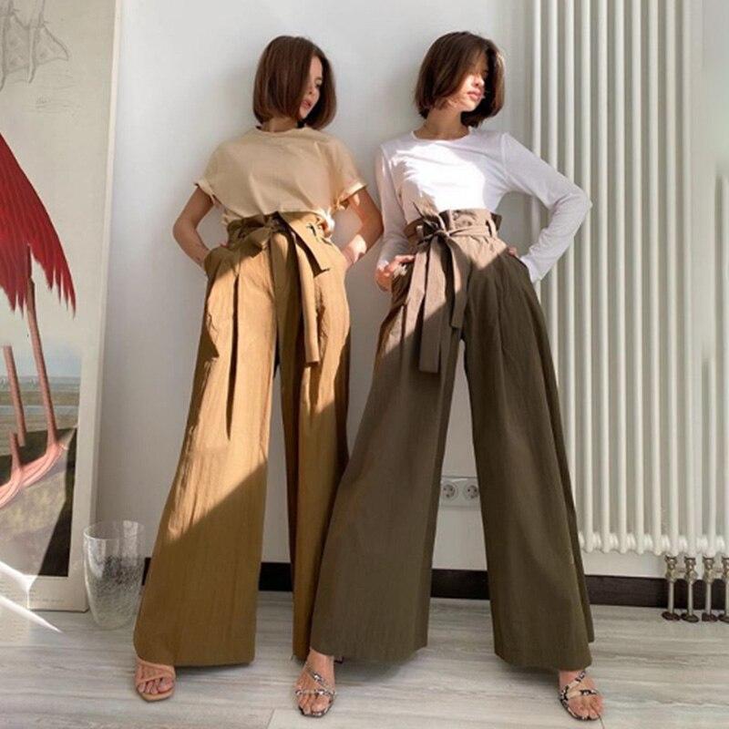 2020 Summer Casual Sashes Wide Leg Pants Women Elegant Office Ladies Straight Pants Female Loose High Waist Streetwear Trousers