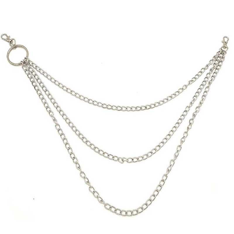 1PC ארוך מכנסיים Hipster מפתח שרשרות פאנק רחוב גדול טבעת מתכת מפתח טבעת ארנק חגורת שרשרת צפצף Keychain יוניסקס היפ הופ תכשיטים