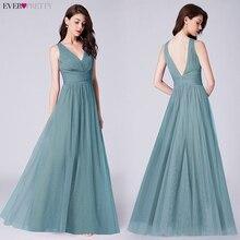 חיל הים כחול שמלות נשף ארוך פעם די אונליין V צוואר אלגנטי Vestido לארגו דה פיאסטה Vestido דה פיאסטה 2020 לארגו מסיבת שמלות