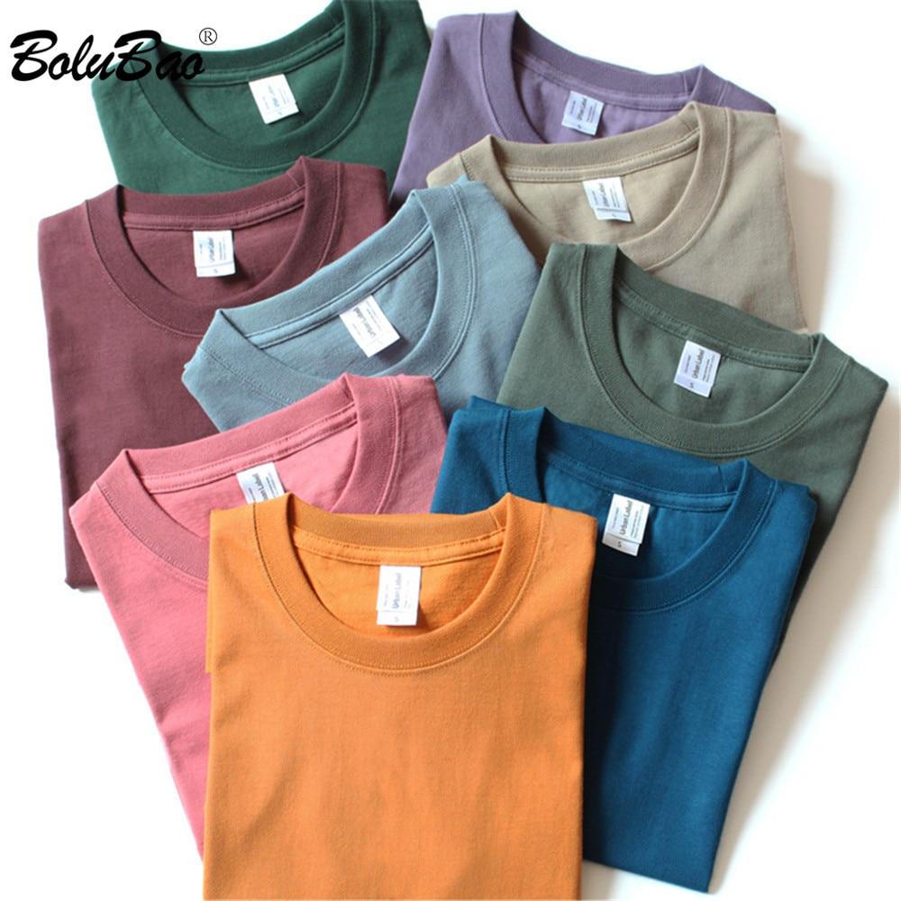 Bolubao Fashion Brand Mannen Effen Kleur Zomer Nieuwe T-shirt Mannen 100% Katoen Korte Mouwen T-shirt Mannelijke Ronde Hals tee Shirt Tops