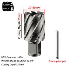 Diameter 12 60mm * 25mm HSS E Annular Cutter With Weldon Shank, 40*25mm High Speed Steel Core Drill Bit 35*25mm, Cut Depth 25mm
