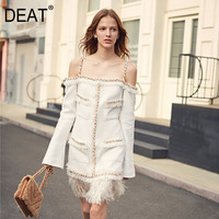 DEAT 2020 Autumn And Winter New Product Heavy Work Tassel Word Shoulder Strap Fashion Solid Color Dress Female PB940
