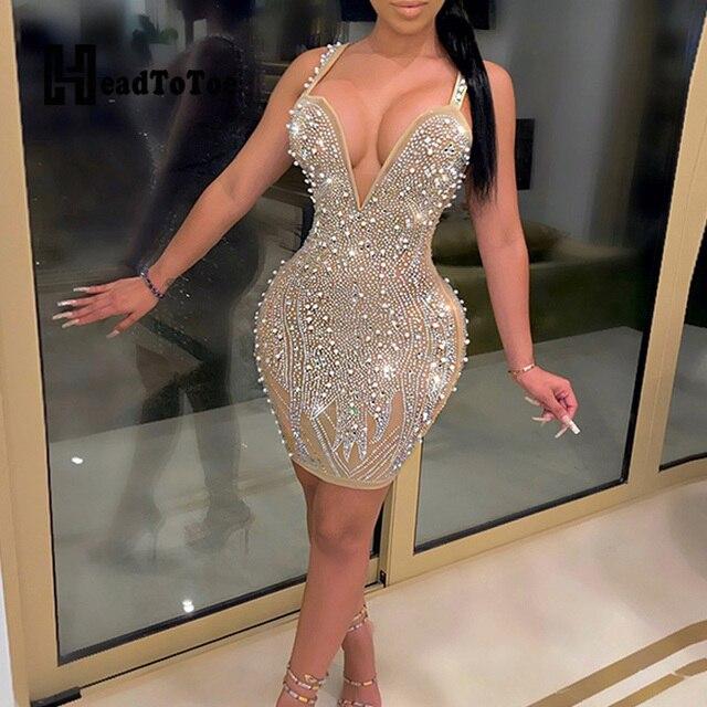 Sexy Backless V Neck Thick Strap Rhinestone Beading Party Dress Women Sleeveless Sheath Bodycon Club Dresses 3