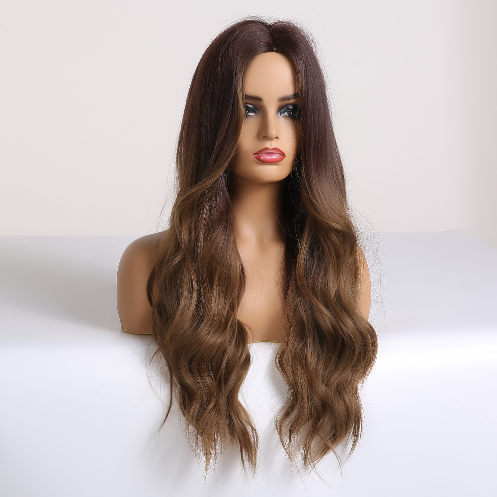 Image 2 - EASIHAIR Long Brown Ombre Synthetic Wigs For Women Afro High Density Temperature Glueless Wavy Cosplay Wigs Heat ResistantSynthetic None-Lace  Wigs   -