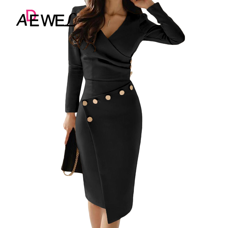 ADEWEL Button Detail White Ruched Bodycon Office Work Dress Women Long Sleeve V-Neck Party Midi Gown Dress 8