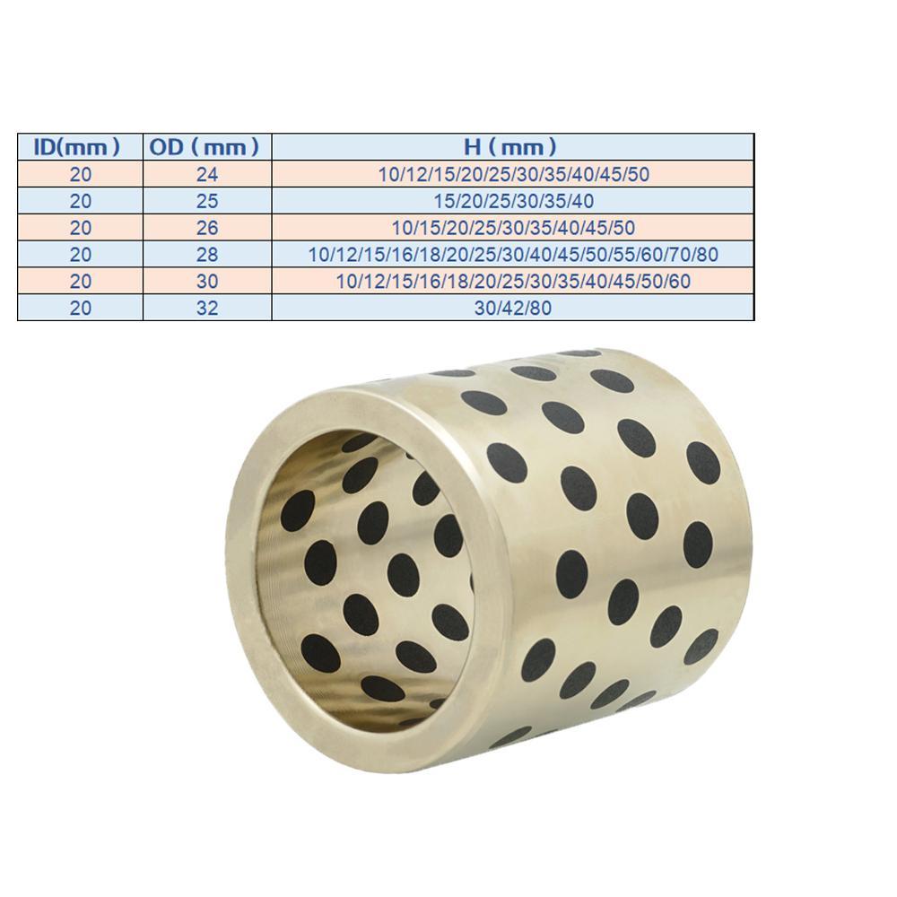1PC JDB 20mm MPBZ linear graphite copper set bearing copper bushing oil self-lubricating MPBZU bearing