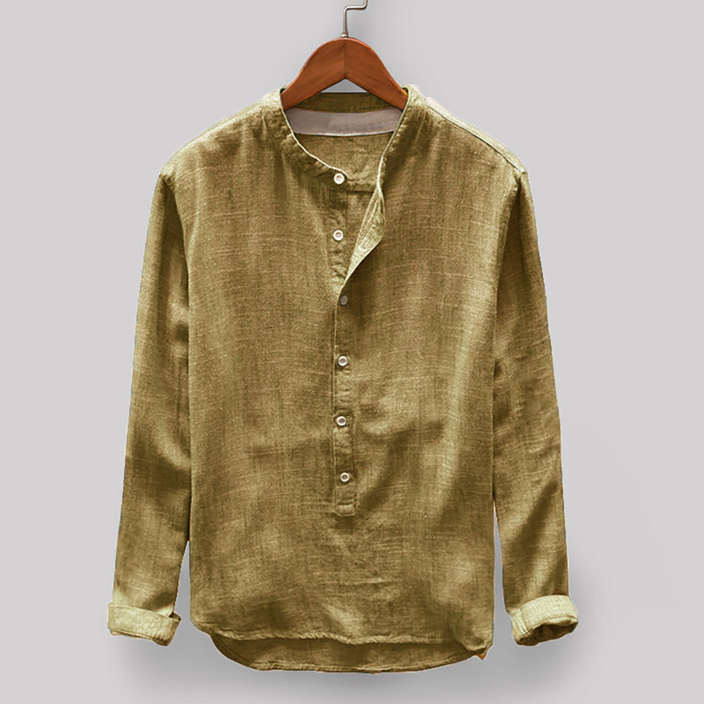 Autumn <font><b>Linen</b></font> <font><b>Shirt</b></font> <font><b>Men</b></font> Casual <font><b>Vintage</b></font> Long Sleeve Winter <font><b>Linen</b></font> and Cotton Blouse Button Casual High Quality <font><b>Shirt</b></font> <font><b>Mens</b></font> B50 image