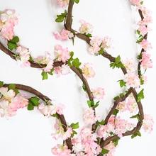 1PCS Artificial Flowers String  Cherry Wreath Non-woven Fabrics Fabric Wall Wedding Luxury Home Decor Garden Decoration