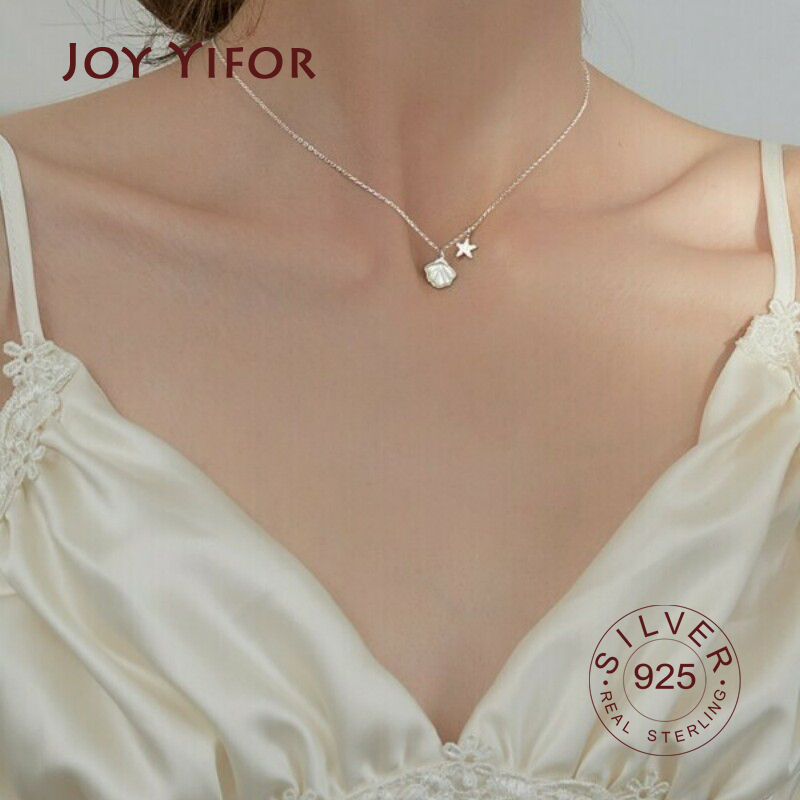 Pearl necklace with stars 925 silver gold plated
