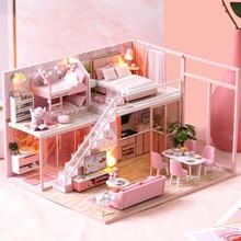 цена CUTEBEE DIY Dollhouse Wooden doll Houses Miniature Doll House Furniture Kit Casa Music Led Toys for Children Birthday Gift онлайн в 2017 году