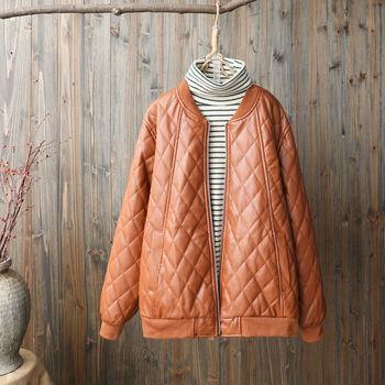 2020 nowa jesienna damska Faux skórzana kurtka w stylu Vintage damska kurtka ze skóry sztucznej kobiet bawełny wyściełane parki zimowe znosić tanie i dobre opinie CN (pochodzenie) Wiosna jesień zipper Na co dzień REGULAR Pełna women jackets O-neck