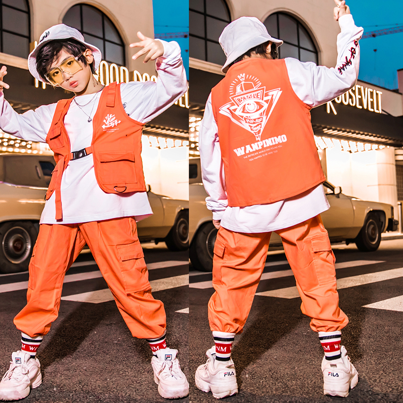 Kids Hip Hop Clothing Outfits Loose Sweatshirt Pants For Boys Jazz Dance Costume Wear Ballroom Clothes Stage Show Wear DQS3174