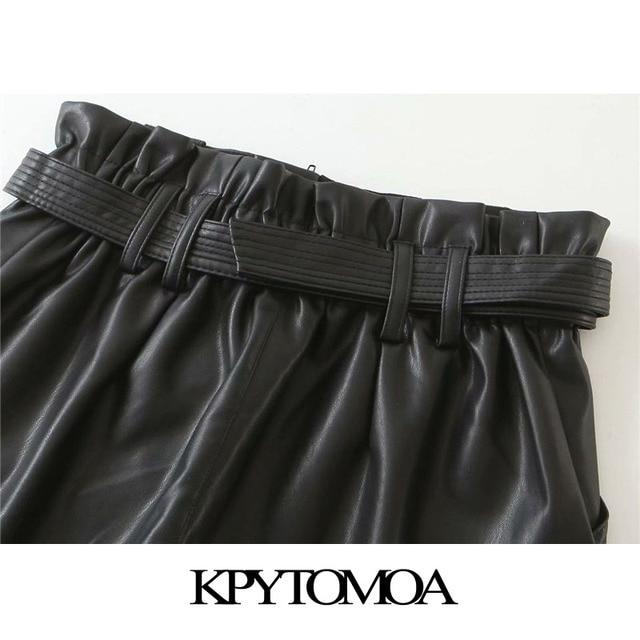 KPYTOMOA Women 2020 Chic Fashion With Belt Faux Leather Shorts Vintage High Waist Zipper Fly Pockets Female Short Pants Mujer 6