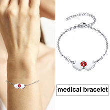 Womens Diabetic Medical Alert ID Bracelet Adjustable Stainless Steel Chain Silver Wristbands Personalized MOM Jewelry