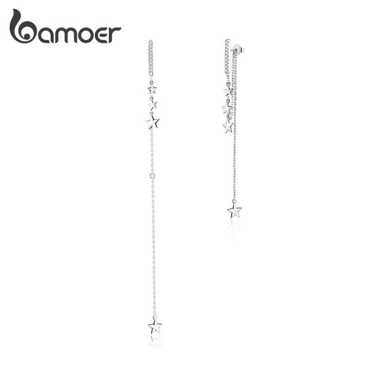 Bamoer Long Tassel Drop Earrings For Women 925 Sterling Silver Shining Starry Earrings Wedding Engagement Jewelry BSE349