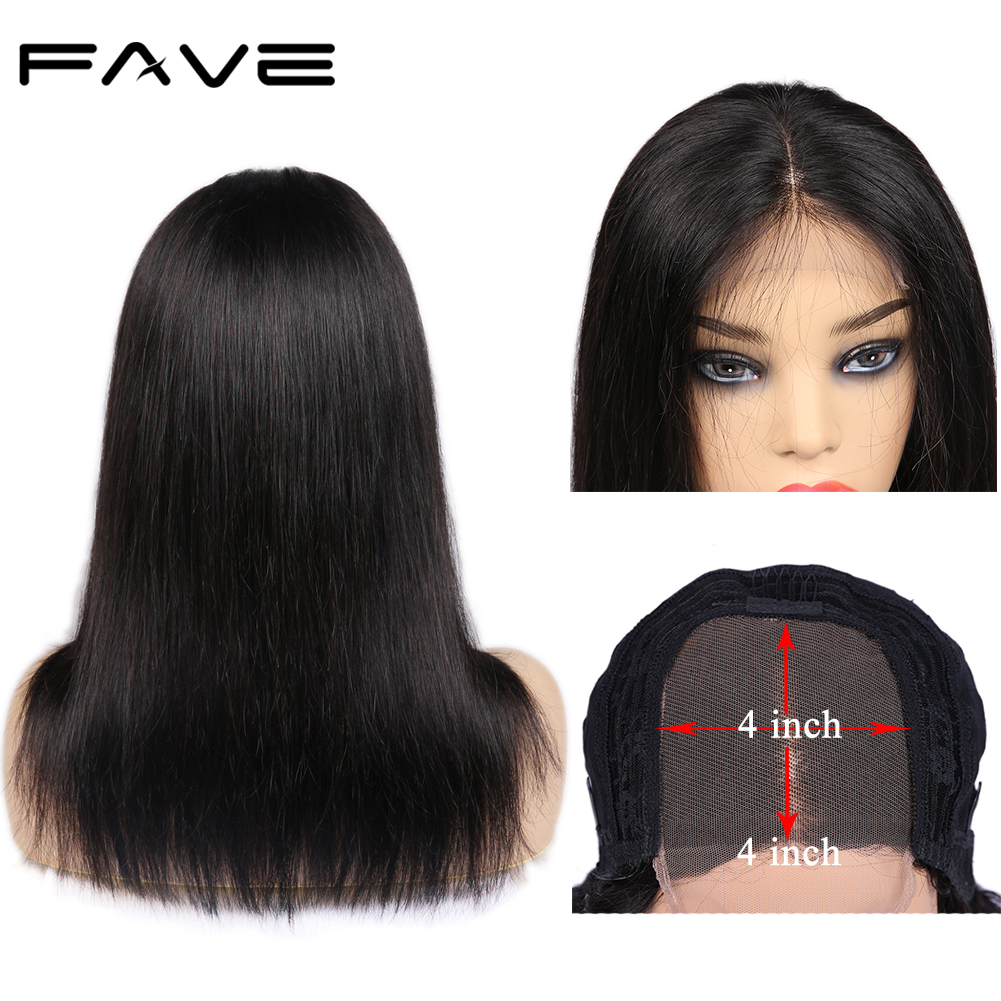 Brazilian 4x4 Lace Closure Straight Human Hair Wigs For Black Women 150% Density FAVE Natural Color Remy Lace Wig With Baby Hair
