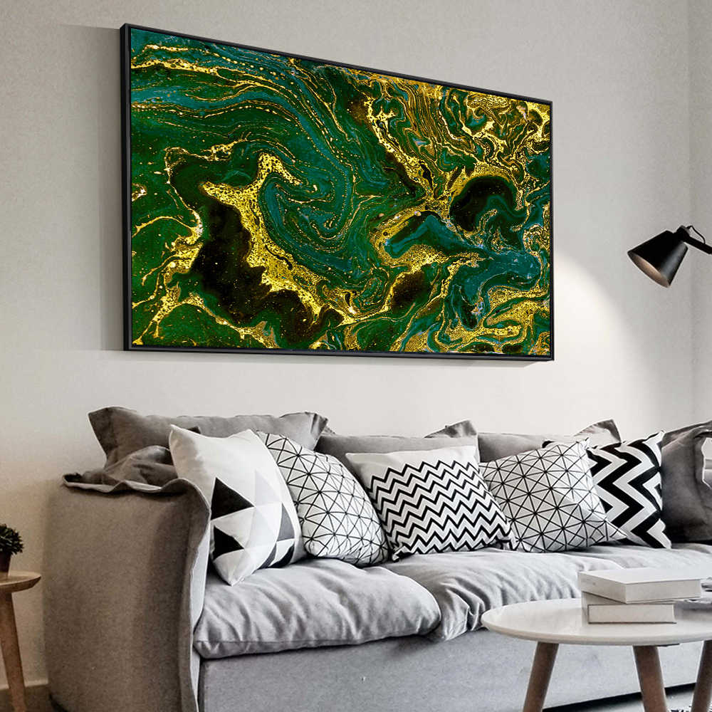 Oil Painting Wall Pictures For Living Room Home Decor Abstract Gold and green Posters Canvas Art For Living Room No Frame