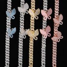 Blauw Roze Cubaanse Link Vlinder Choker Ketting Kristal Strass Chokers Kettingen Voor Vrouwen Gouden Kraag Groothandel