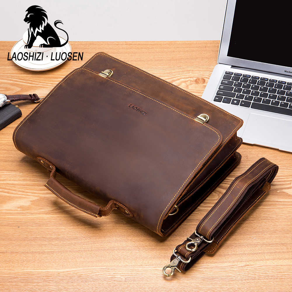 LAOSHIZI LUOSEN حقيقية حقيبة جلدية للرجال 13 بوصة حقيبة لابتوب حقيبة كتف جلد البقر حقيبة يد مكافحة سرقة مشبك قفل 91211