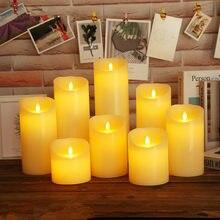 Pilares reais flameless da cera da parafina da luz da vela do diodo emissor de luz com chamas realísticas do balanço para a decoração do aniversário/casamento/natal