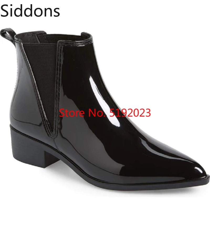 Winter Fashion Mens Ankle Boots Polished Glossy Chelsea Boots Pointed Toe Slip On Luxury Men Boots Fashion Vintage  D161