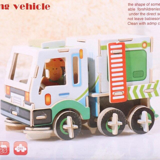 Vokmascote de madeira 3d quebra-cabeça tridimensional meninos meninas brinquedos educativos crianças modelo montado à mão ônibus carro escavadeira