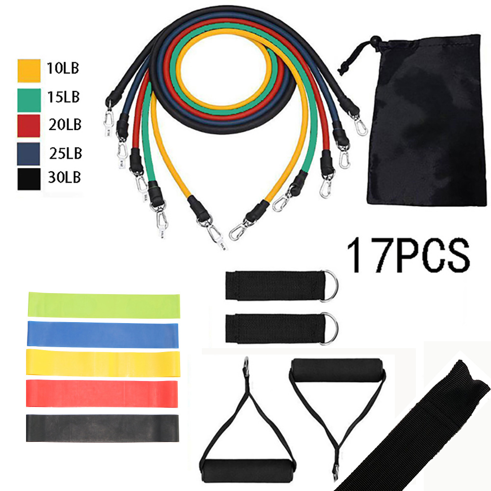 17Pcs Resistance Bands Set Yoga Exercise Fitness Band Rubber Loop Tube Bands Gym Fitness Exercise Pilates Pull Rope