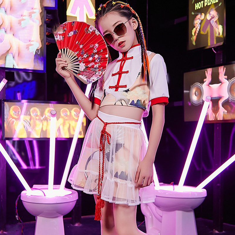 Jazz Dance Costumes Kids Printing Hip Hop Stage Rave Outfit Girls Street Dance Clothes Oriental Performance Clothing DC2985