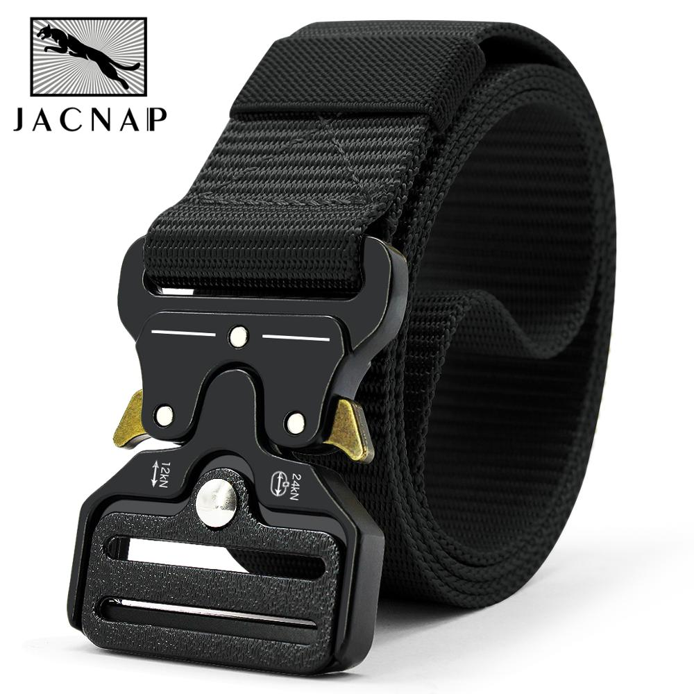 JACNAIP Nylon Belt Men's Military Tactical Belt Nylon Fashion Alloy Buckle Elastic Metal Training Male Battle Belt