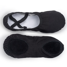 Dance-Shoes Slippers Canvas Ballerina Soft-Sole Yoga Black Quality Woman USHINE Professional