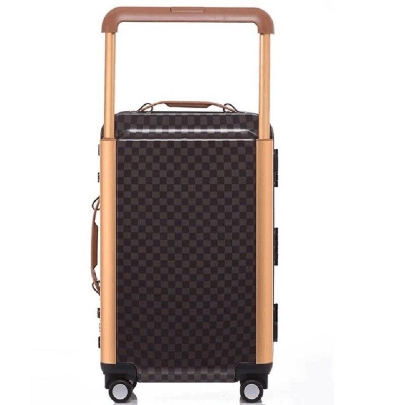 Mode luxe personnalité 20/24 pouces taille haute qualité PC rétro plaid roulant bagages Spinner marque valise de voyage