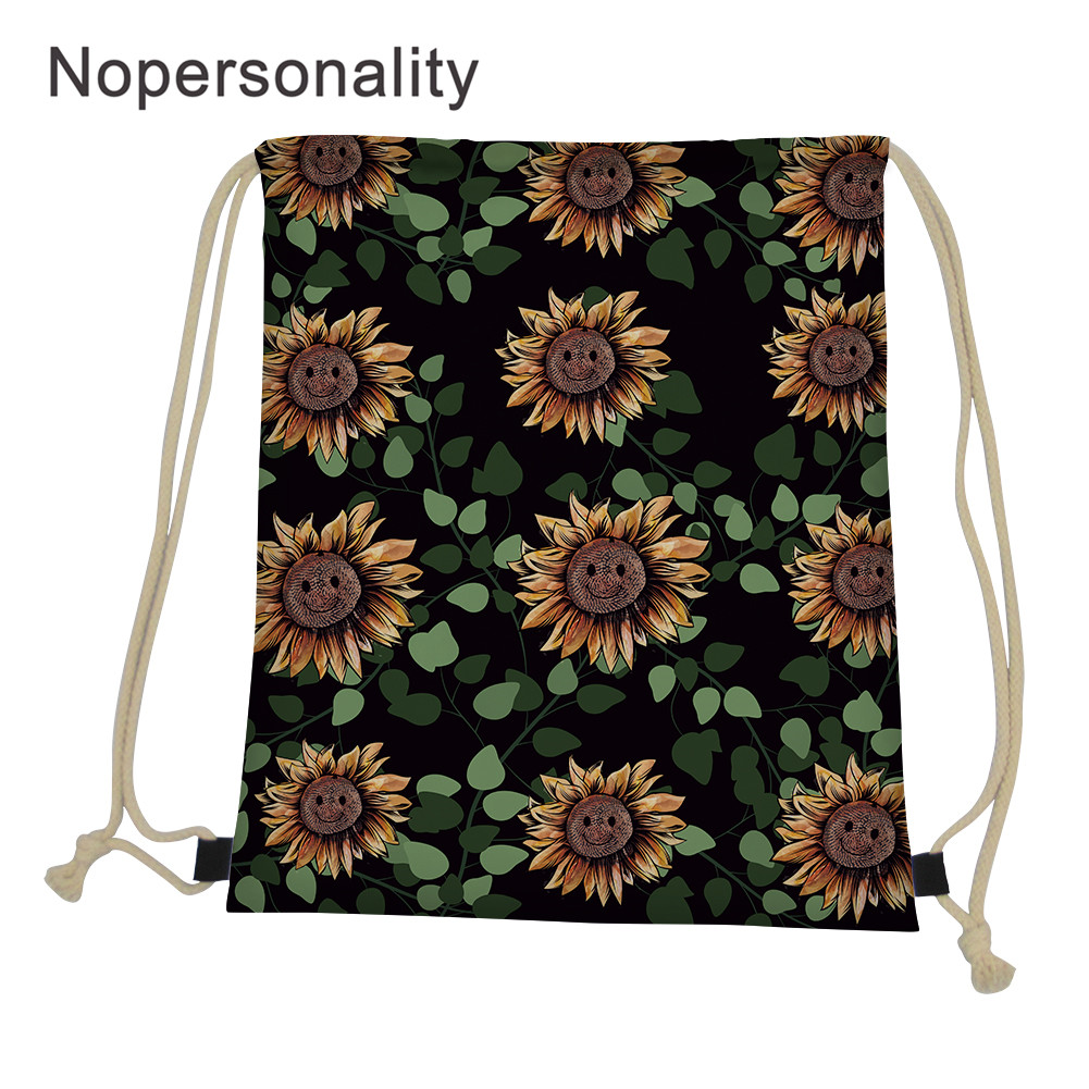 Nopersonality Printing Sunflowers Boys Girls Daily Drawstring Backpack String Soft Sackpack Bag For Fitness String Shoulder Bags