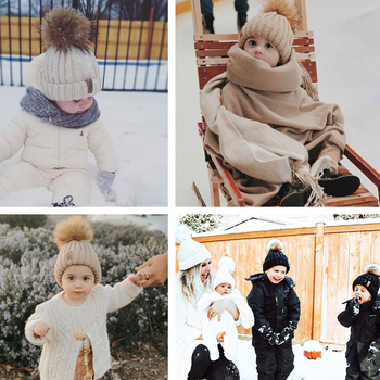 FURTALK Winter Pompom hat for Kids Ages 1-10 Knit Beanie winter baby hat for children fur Pom Pom Hats for girls and boys 6