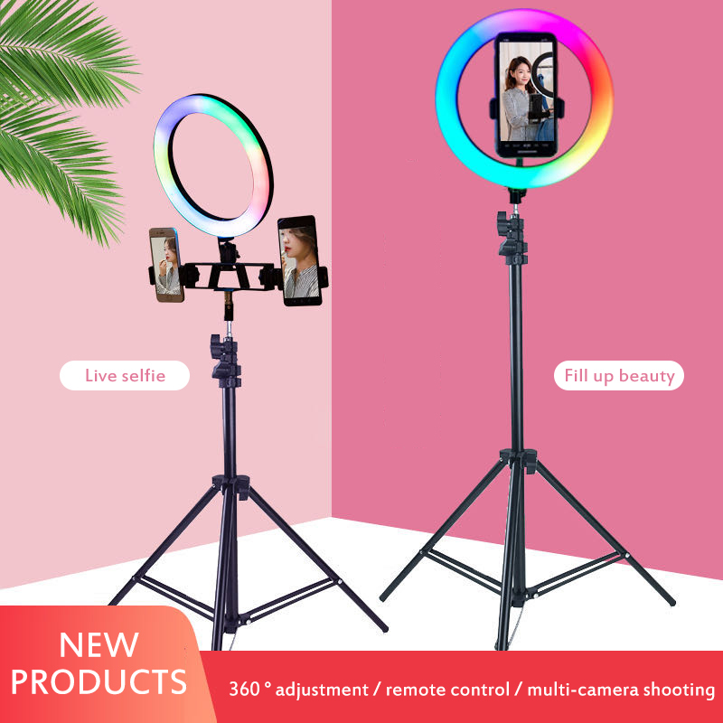 Photography Led Selfie Ring Light 16 / 26cm Three-speed Stepless Dimmable Lighting With Tripod For Makeup Video Live Studio