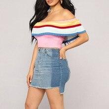 Women Casual Summer T Shirt  Fashion One-Shoulder Color Stripe Short Knit Top 8.24 one shoulder ribbed knit top