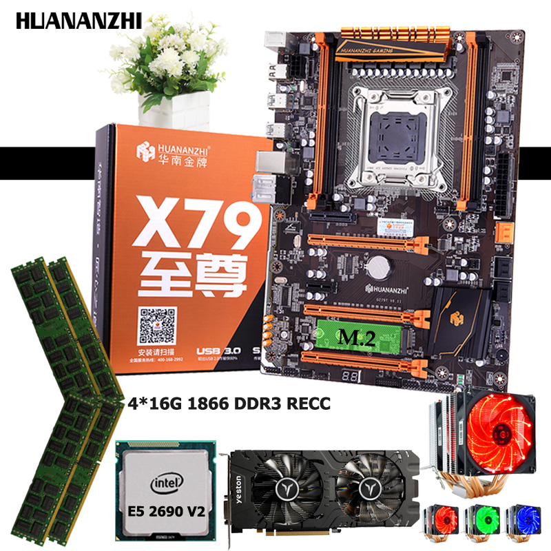 HUANANZHI deluxe X79 motherboard combo <font><b>Xeon</b></font> CPU <font><b>E5</b></font> <font><b>2690</b></font> <font><b>V2</b></font> 3.0GHz with cooler RAM 64G(4*16G) 1866 REG ECC video card RX580 4GD5 image
