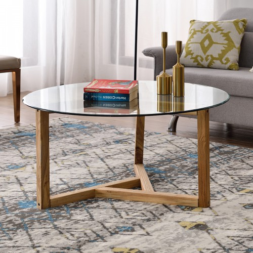 Round Glass Coffee Table Modern Cocktail Table Easy Assembly Sofa Table For Living Room With Top Amp Sturdy Wood Base