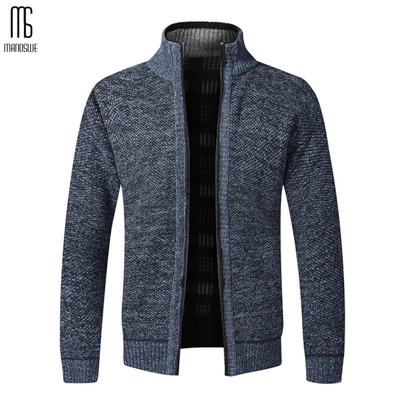 Manoswe Autumn Winter Warm Casual Zipper Cardigan Men Thick Slim Knitwear Outwear Knitwear Sweatercoat Male Slim Fit Jumpers