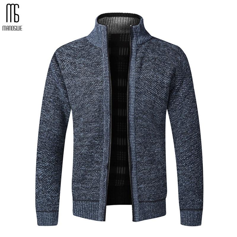 Manoswe Autumn Winter Warm Casual Zipper Cardigan Men Thick Slim Knitwear Outwear Knitwear Sweatercoat Male Slim Fit Jumpers