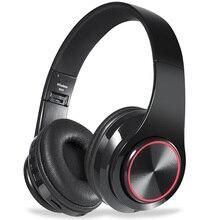 Headphone Nirkabel Bluetooth Headphone 7 Warna Bercahaya LED Headset dengan MIC Mendukung TF Kartu untuk Ponsel PC Mp3 Pemain