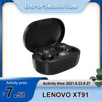 Lenovo-auriculares inalámbricos XT91 con Bluetooth 5,0, dispositivo de audio estéreo, con micrófono, reducción de ruido, Control IA, para videojuegos