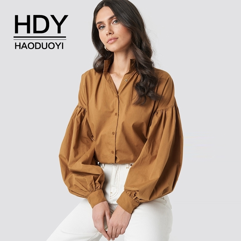 HDY Haoduoyi Women New Arrival Autumn Fashion French Vintage Stand Collar Long Sleeve Solid Color Puff Sleeve Shirt
