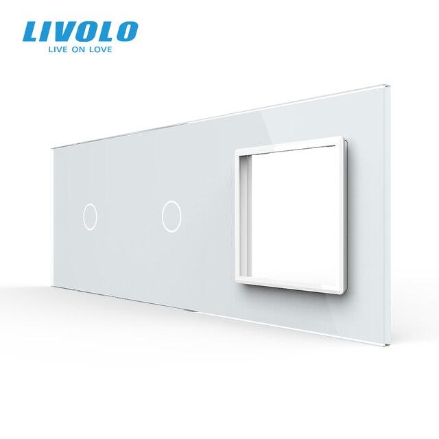 Verre Livolo blanc perle cristal, 222mm * 80mm, norme ue, panneau de verre 2 bandes & 1 cadre, C7 C1/C1/SR 11 (4 couleurs), panneau unique, pas de logo