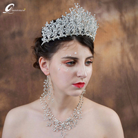 Big Tiara Gogerous Crown Rhinestone Crystal Hair Jewelry Handmade Crowns And Tiaras Wedding Hair Accessories